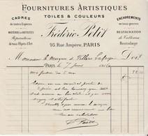 Facture 1916 / Frédéric PETIT / Fournitures Artistiques / Peintre / Cadres, Toiles, Restauration Tableaux / 75 Paris - Francia
