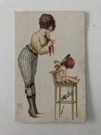 Carte Postale Ancienne Signée Jean Tam  Portrait De Jeune Femme Avec Un Enfant - Série N°57 TTravestis Parisiens - Illustrateurs & Photographes