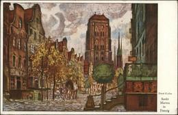 Postcard Danzig Gdańsk/Gduńsk Frauengasse - Künstlerkarte 1924 - Danzig