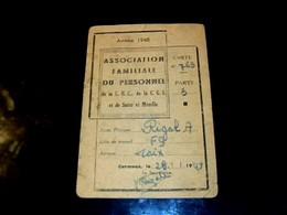 1948 Carnet De Rationnements Carte Association Familiale Du Personnel ChC - CGL Et De Sarre & Moselle - Mappe