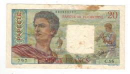 Papeete (Tahiti), 20 Fr.  1950s. VF. See Scan - Banknotes