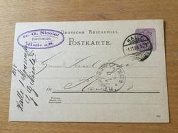 GÄ32725 Deutsches Reich Ganzsache Stationery Entier Postal P 18I Von Halle/Saale Nach Plauen - Entiers Postaux