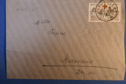 C FRANCE LETTRE 1918 .RARE DE MARCKOLSHEIM POUR MASVAUX + N 156 SEUL SUR LETTRE + AFFRANCHISSEMENT PLAISANT - France