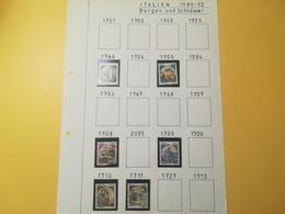 PAGINA PAGE ALBUM ITALIA ITALY 1980 CASTELLI CASTLE ATTACCATI PAGE WITH STAMPS COLLEZIONI LOTTO LOTS - Lotti E Collezioni