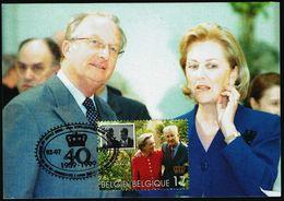 """Belgique - COB. N° 2828 Sur CM - Oblitération 1 Ier Jour """"BRUXELLES-BRUSSEL - 2-7-1999"""" - 40 Ans Mariage Couple Royal - 1991-2000"""