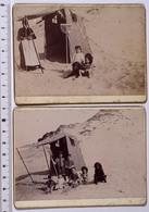 Lot 2 Photos 8x12cm: Enfants Sur La Plage De WISSANT, Pas-de-Calais (62) 1894. Bains De Mer Cabine Vacances MAUVAIS ETAT - Oud (voor 1900)