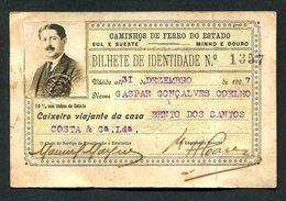 1926 PASSE / Cartão 50% Desconto CAMINHOS De FERRO Do ESTADO Sul Sueste - Caixeiro Viajante. Pass Ticket TRAIN Portugal - Europa