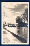 57. Metz. Carte-photo. Crépuscule Sur Le Canal. Péniches. 1957 - Metz