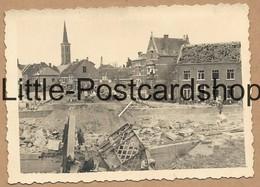 Foto Maaseik Belgien Zerstörte Maas Brücke Stadt Nach Bombardement Kirche Deutsche Soldaten 2. WK Pi. Btl. 50 Ca. 1940 - Guerra 1939-45