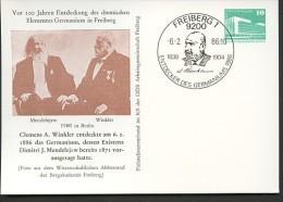 DDR PP18 B2/011 Privat-Postkarte MENDELEJEW WINKLER GERMANIUM Freiberg Sost.1986  NGK 6,00 € - [6] Oost-Duitsland