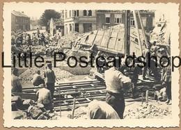 Foto Jodoigne Brücke Stadt Nach Bombardement Trümmer Deutsche Soldaten Bauen Behelfsbrücke Pont 2. WK Pi. Btl. 50 - Guerra 1939-45