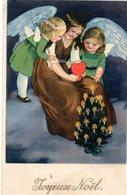 CPA -  Joyeux Noël  - Jeune Fille Et Deux Anges      écrite - Christmas