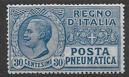 REGNO D'ITALIA POSTA PNEUMATICA 1913-23  EFFIGE DI V.EMANUELE III  SASS. 3 MNH XF - Pneumatic Mail