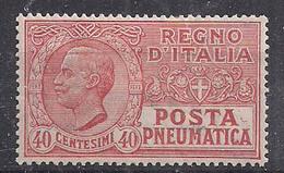 REGNO D'ITALIA POSTA PNEUMATICA 1925  TIPO DEL 1913-23 EFFIGE DI V.EMANUELE III SASS. 9 MNH XF - Pneumatic Mail