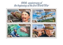 Maldives 2014 World War I ,(Tank Mark I, Wilhelm I (German Emperor) - Mushrooms