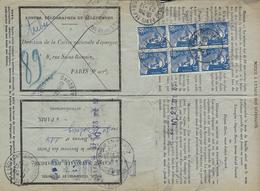 1952- Formulaire N°13 P Des P T T  Demande De Remboursement Partiel De La Caisse D'épargne - Affr. Gandon Bloc De 6 - Marcofilia (sobres)