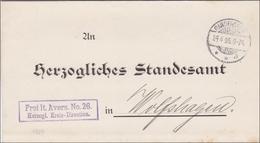 Herzogliche Kreis Direktion An Standesamt 1905 Gandersheim Nach Wolfshagen - Germany
