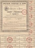 Indochine - Sanatorium Frigorifique De Saigon - Bon De Délégation Au Porteur / 100 Frs / 1898 - RARE - Asie