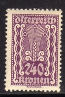 AUSTRIA ÖSTERREICH 1921 AGRICULTURE AGRICOLTURA 240K MNH - Nuovi