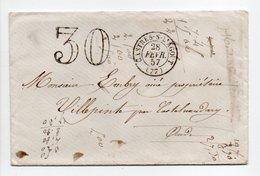 - Lettre CASTRES-SUR-L'AGOUT Pour VILLEPINTE Via CASTELNAUDARY (Aude) 28 FEVR 1857 - Taxe Tampon 30 Centimes - - Marcophilie (Lettres)