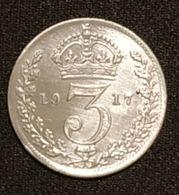 GRANDE BRETAGNE - 3 PENCE 1917 - George V - Argent - Silver - KM 813 - 1902-1971 :  Post-Victoriaanse Muntstukken