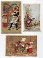 - 3 CHROMOS - A L'ELÉGANCE, PARIS - CH. ROUSSEL, La Journée Du Potard - Essence De Café Trablit - - Trade Cards