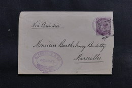 INDE - Enveloppe De Bombay Via Brindisi Pour La France En 1891, Affranchissement Plaisant - L 54409 - India (...-1947)