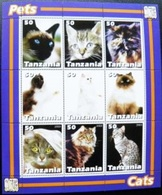 SALE! M/s + Sheetlet Animals Cats Cat Pets Tanzania 2003 - Chats Domestiques