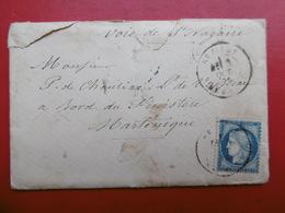 POSTE MARITIME LETTRE BEZIERS VIA MARTINIQUE VOIE DE St NAZAIRE 1876 CACHET PARIS ETRANGER - 1849-1876: Classic Period