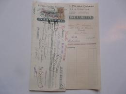 VIEUX PAPIERS - FACTURE ET TRAITE : Laines - Crins - Plumes - Duvets - G. LAMBERT - Versailles - Francia