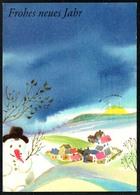 D3990 - Lenz Glückwunschkarte - Weihnachten - Winterlandschaft Schneemann - Planet Verlag DDR - New Year