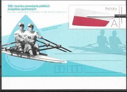 POLAND, 2019, MINT POSTAL STATIONERY, PREPAID POSTCARD, 100 YEARS OF POLISH SPORTS UNIONS, ROWING - Rowing