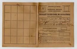 TIMBRES SOCIAUX POSTAUX - TIMBRES ASSURANCES SOCIALES 1F 10F - SUR FEUILLET TRIMESTRIEL DE COTISATIONS - 62 - BOULOGNE - Fiscali