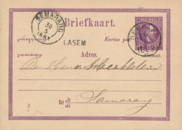 Nederlands Indië - 1883 - 5 Cent Willem III, Briefkaart G1 Van Langstempel LASEM Via KR REMBANG Naar Semarang - Netherlands Indies