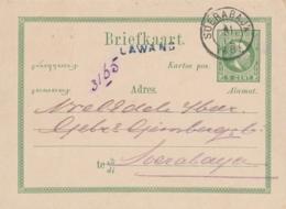 Nederlands Indië - 1885 - 5 Cent Willem III, Briefkaart G6 Van Langstempel LAWANG Naar Soerabaja - Niederländisch-Indien