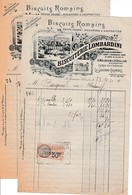 1930 LA GARENNE-COLOMBES - BISCUITERIE LOMBARDINI - 2 Factures - Historische Dokumente