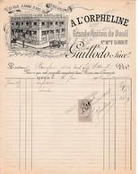 """1908 ROUEN - """"A L'ORPHELINE"""" Grande Maison De Deuil GUILLODO Succ. - Documents Historiques"""