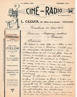 1933 TOULOUSE - CINÉ-RADIO - Maison L. CAZAUX - Tout Ce Qui Concerne Le Cinéma - - Historische Dokumente