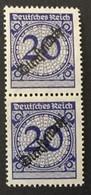 1923 Rosettenmuster Mit Aufdruck Dienstmarke Senkrechtes Paar Mi. 102**)*) - Dienstpost