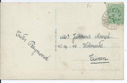 Fantasiekaart Met OCB 137 - Afstempeling NEERWINDEN Relais - 1915-1920 Albert I