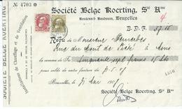Kwitantie Met OCB 74-75 - Afstempeling BRUXELLES(BOULEVARD D'ANVERS) - 1905 Thick Beard