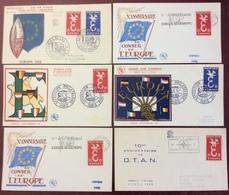 00164 Europa 1173 1174 Différentes Oblitérations FDC Premier Jour 1958 1959 Lot 6 Lettre - 1950-1959