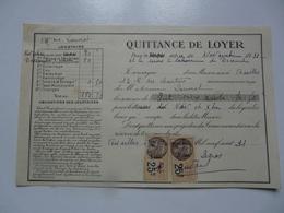VIEUX PAPIERS - QUITTANCE DE LOYER - Mme LOUVIOT Locataire - Rue Des Chantiers - Novembre 1931 - Versailles - 1900 – 1949