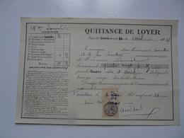 VIEUX PAPIERS - QUITTANCE DE LOYER - Mme LOUVIOT Locataire - Rue Des Chantiers - Avril 1931 - Versailles - Francia