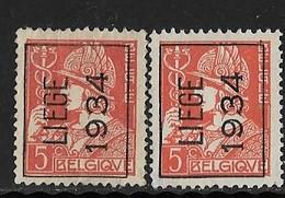 Luik 1934 Nr. 281A 2 Kleuren - Préoblitérés