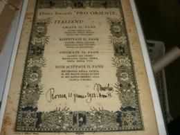 OPERA ITALIANA PRO ORIENTE -ITALIANI! AMATE IL PANE-MUSSOLINI 1928 - Documents Historiques