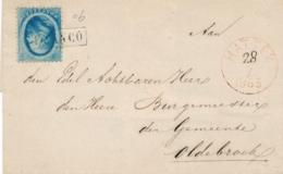 Nederland - 1865 - 5 Cent Willem III, 2e Emissie - Enkelfrankering Op Omslag Van Hattem Naar Oldebroek - Briefe U. Dokumente