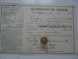 VIEUX PAPIERS - QUITTANCE DE LOYER - Mme LOUVIOT Locataire - Rue Des Chantiers - Avril 1930 - Versailles - 1900 – 1949