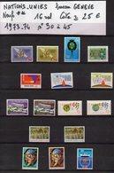 ONU--NATIONS-UNIES--bureau De Genève--années 1973-74 Complètes-NEUFS ** N°30 à 45 --cote 25€.......à Saisir - UNO