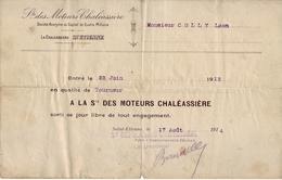42 - LOIRE - Certificat De Travail. Société Des Moteurs Chaléassière. St Etienne. 1914 - - Vieux Papiers